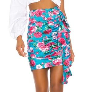 NWT Ronny Kobo Lauryn Skirt Ruched Floral